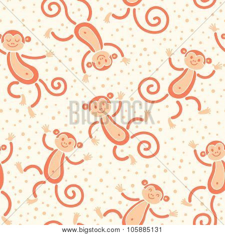 Seamless pattern with monkeys playing in snow winter. Vector illustration.