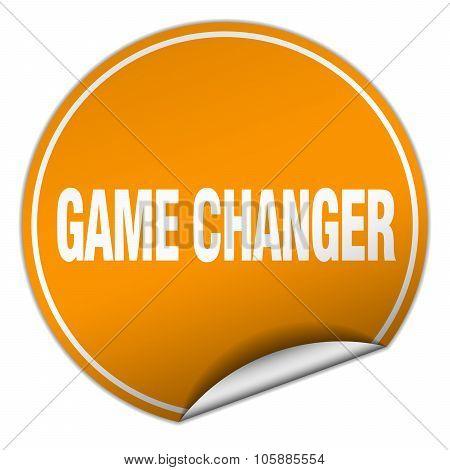 Game Changer Round Orange Sticker Isolated On White