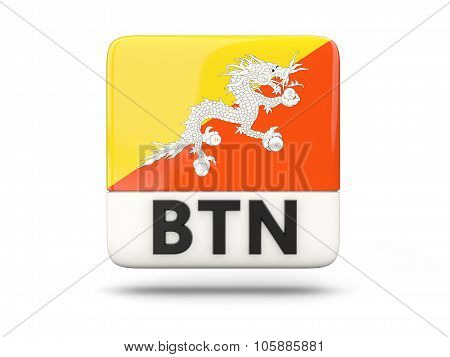 Square Icon With Flag Of Bhutan