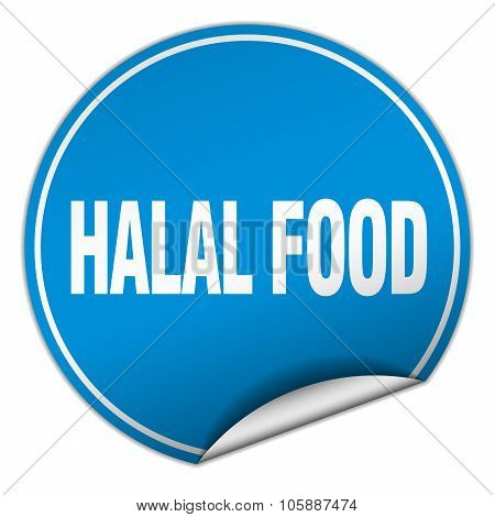 Halal Food Round Blue Sticker Isolated On White