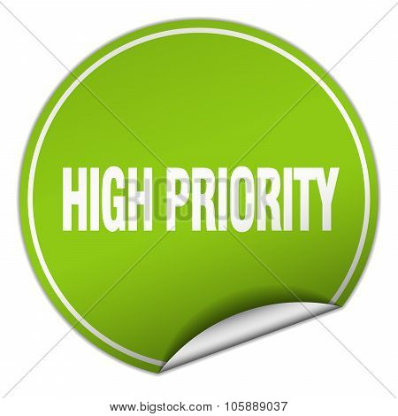 High Priority Round Green Sticker Isolated On White