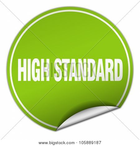 High Standard Round Green Sticker Isolated On White
