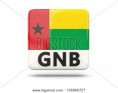 Square Icon With Flag Of Guinea Bissau