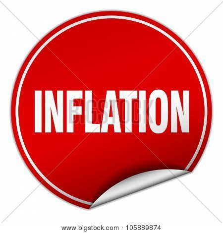 Inflation Round Red Sticker Isolated On White