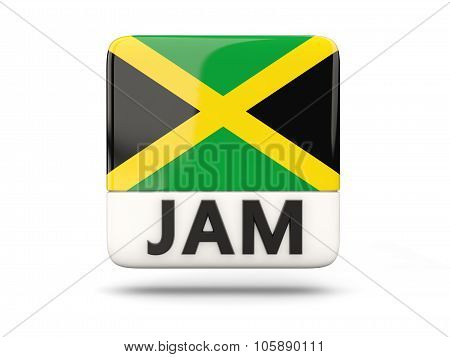 Square Icon With Flag Of Jamaica