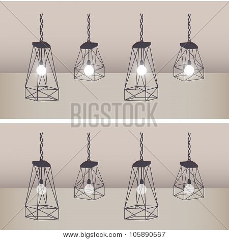 Set Of Modern Ceiling Lights With Black Metal Cage And White Lamp