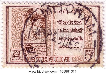Australia - Circa 1961: Stamp Printed In Australia With Christian Messages And Image Baby Jesus, Cir