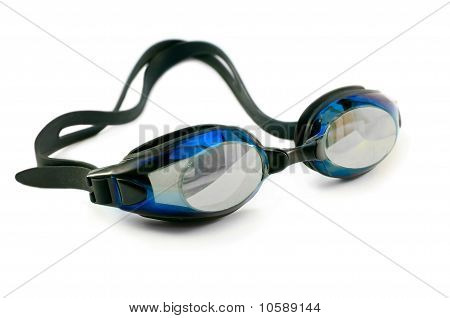 Swimming Googles Isolated Over White Close Up