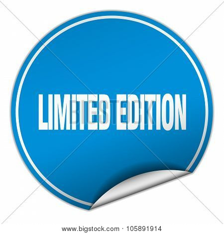 Limited Edition Round Blue Sticker Isolated On White