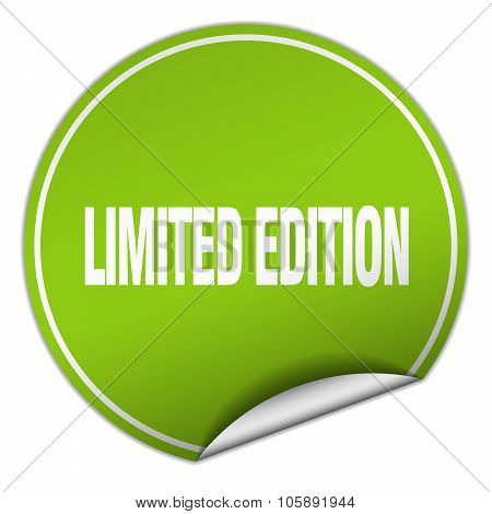 Limited Edition Round Green Sticker Isolated On White