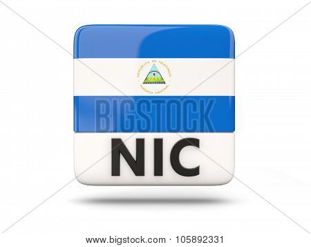 Square Icon With Flag Of Nicaragua