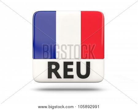 Square Icon With Flag Of Reunion