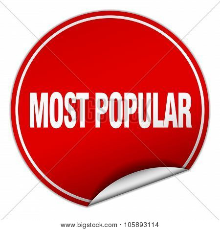 Most Popular Round Red Sticker Isolated On White