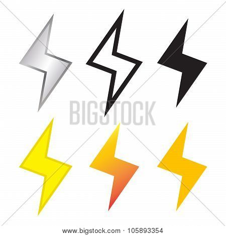 Thunder And Lighting Bolt Icon In Many Style