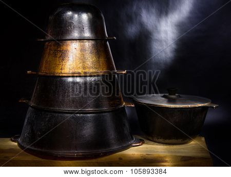Set Of Old Pig-iron East Cauldrons