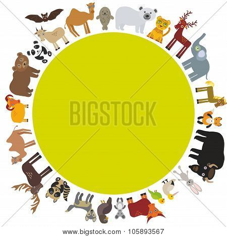 round frame. animal card template. bison bat fox wolf elk horse camel partridge fur seal Walrus goat