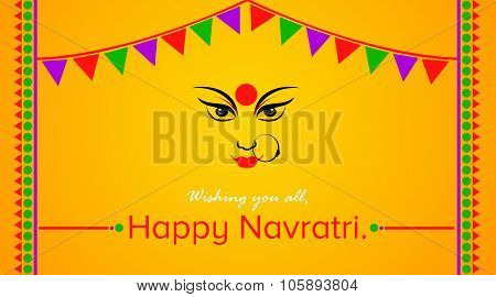 Navratri Celebration for Goddess Durga Greetings on Yellow Background