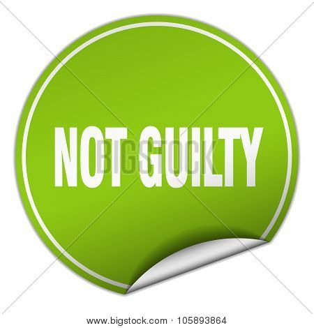 Not Guilty Round Green Sticker Isolated On White