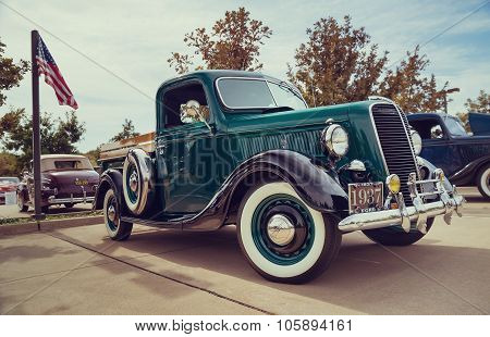 Green 1937 Ford Pickup Truck Classic Car