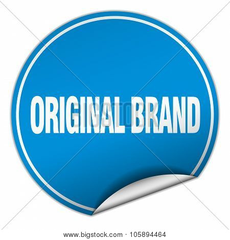 Original Brand Round Blue Sticker Isolated On White