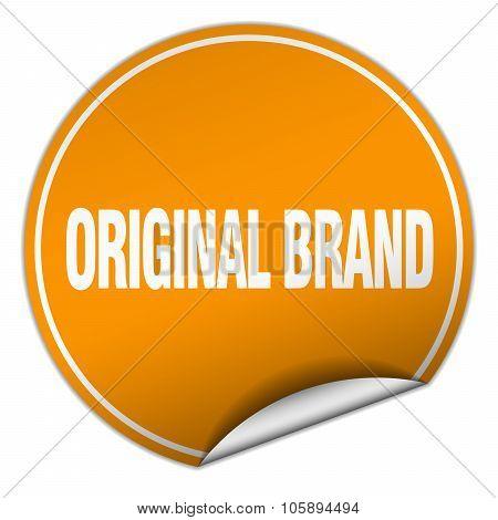 Original Brand Round Orange Sticker Isolated On White