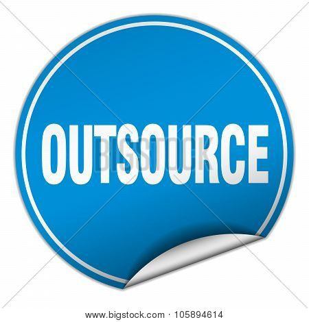 Outsource Round Blue Sticker Isolated On White