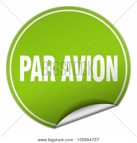Par Avion Round Green Sticker Isolated On White