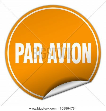 Par Avion Round Orange Sticker Isolated On White