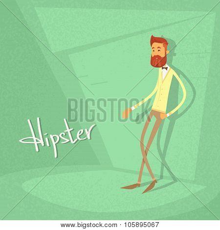 Man Hipster Style Fashion Cartoon Guy Green Retro