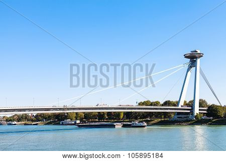 Most Snp Bridge Over Danube River In Bratislava