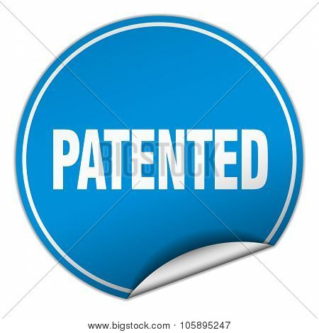 Patented Round Blue Sticker Isolated On White