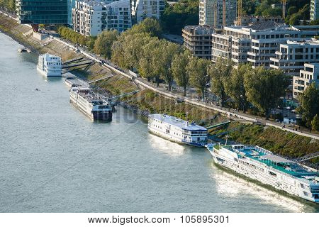 Ships Moored Along Waterfront In Bratislava