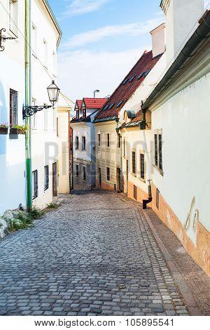 Cobblestone Paved Beblaveho Street In Bratislava