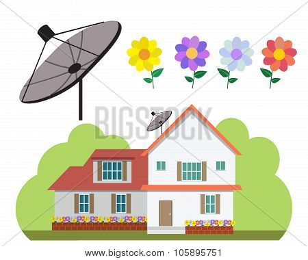 House With Satellite Dish And Flower Garden In Flat Style