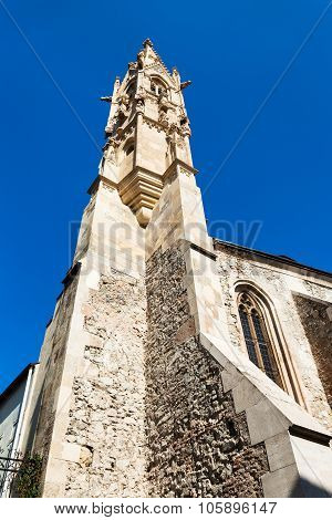 Gothic Tower Of Clarissine Church In Bratislava