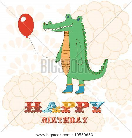 Stylish Happy birthday card with cute crocodile holding balloon