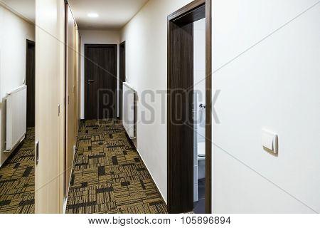 Corridor With Built-in Mirror Wardrobe