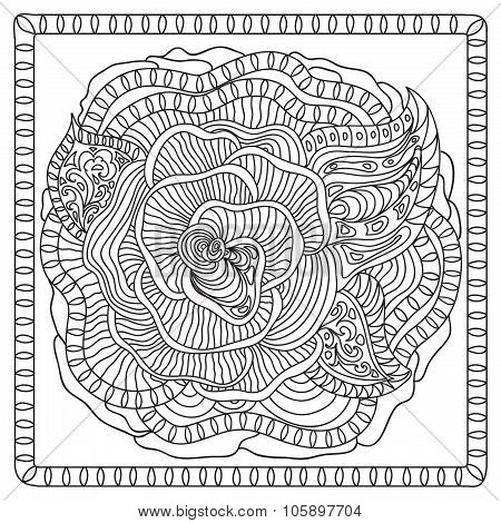 Flower zentangle coloring page