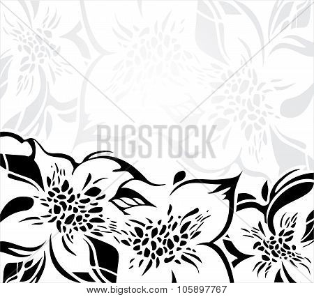Black and white floral holiday background