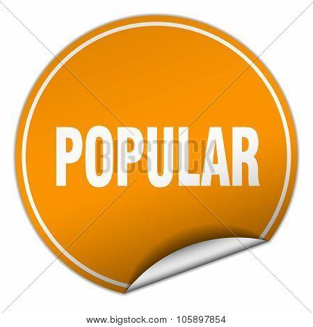 Popular Round Orange Sticker Isolated On White
