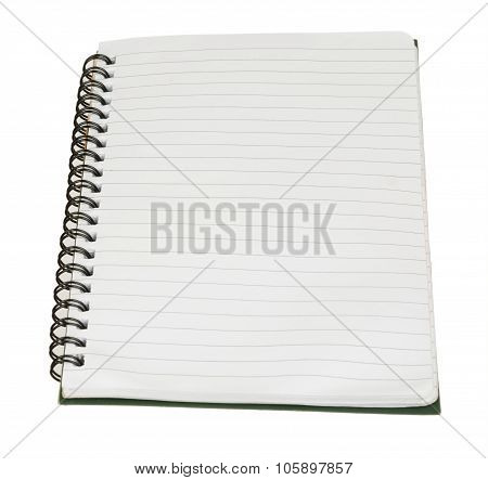 Copybook with empty sheets on white