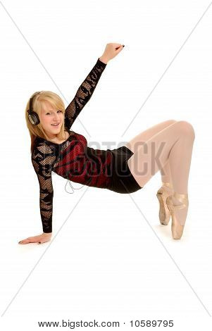 Funky Ballerina In Kopfhörer