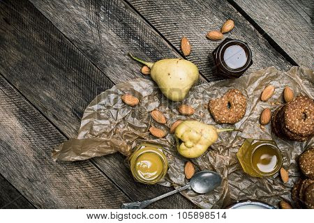 Pears Cookies Honey And Nuts On Wood
