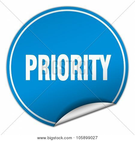 Priority Round Blue Sticker Isolated On White