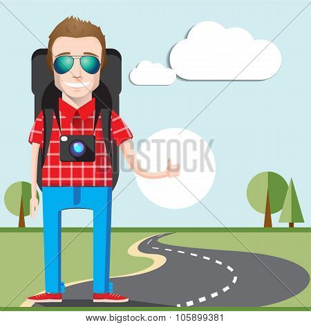 Hitchhiking tourism concept. Young Hitchhiker traveling with big bag and photo camera calling a car.