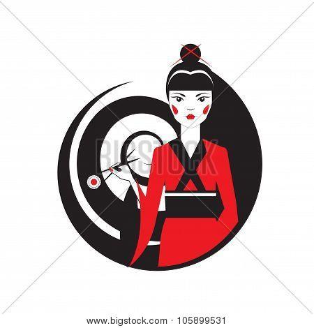 Geisha holding sushi with chopstiks isolated  on white. Vector logo template of japanise reastaurant