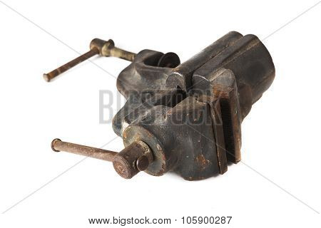 the old vise isolated on white background