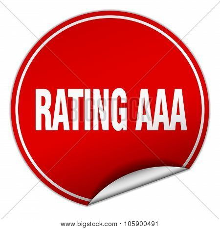 Rating Aaa Round Red Sticker Isolated On White