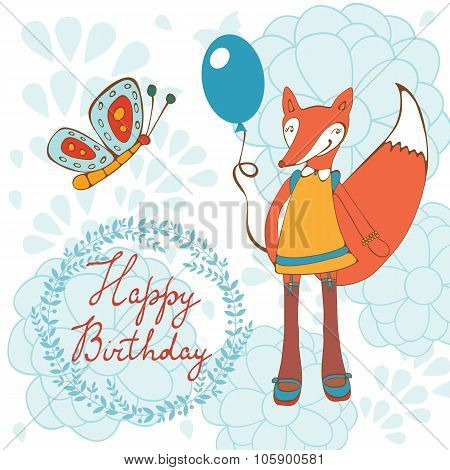 Adorable Happy birthday card with  beautiful fox character holding balloon.