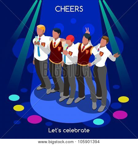 Team Party  People Isometric
